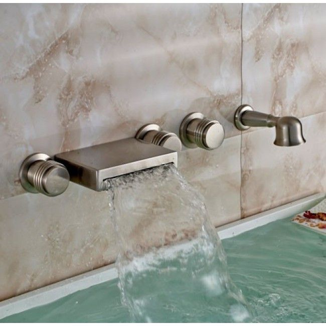 Merveilleux Wall Mount Brushed Bathtub Faucet With Handheld Shower