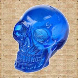 Beautiful looking blue azurite skull for your decoration purposes. This blue skull looks fantastic in the light.    Height : 5 cm    Width : 5 cm    Length : 7 cm    Weight : 100.00g    Made from resin £4.99