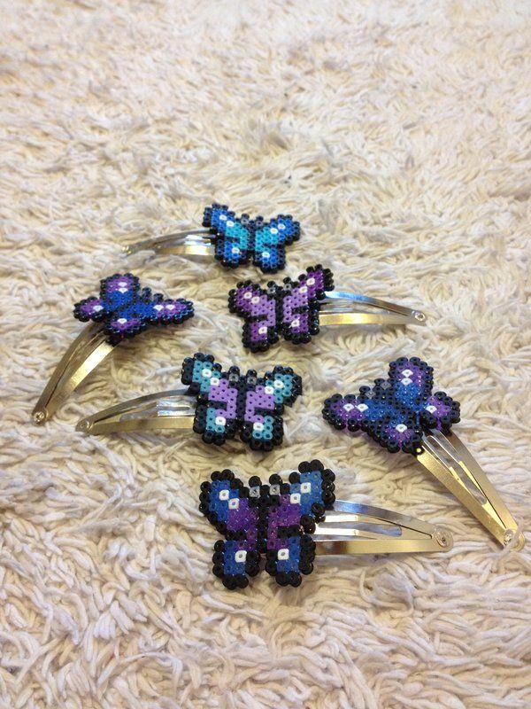 Pinzas de pelo de la mariposa porción PixelPlastik - perles à repasser : http://www.creactivites.com/229-perles-a-repasser