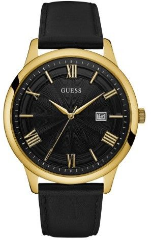 GUESS Men's Black and Gold-Tone Oversized Watch