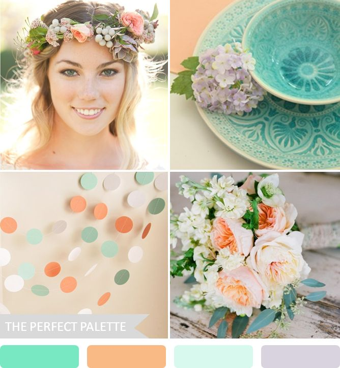 Party Palette | Turquoise, Peach + Muted Lavender http://www.theperfectpalette.com/2013/07/party-palette-shades-of-aqua-peach.html