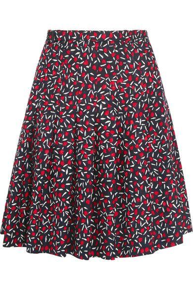 Vanessa Seward - Anais Pleated Silk-jacquard Skirt - Navy - FR