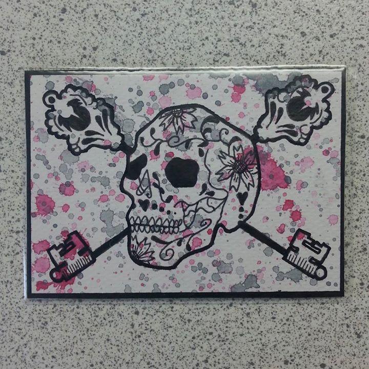 Sugar Skull ATC series - Grey&pink