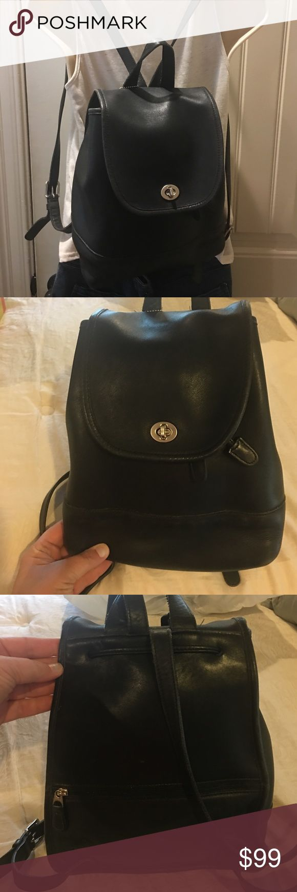 Vintage Coach leather backpack navy blue EUC Vintage Coach leather drawstring backpack.  Navy blue leather.  Shows some wear & rubbing on the trim (as pictured).  No other major issues.  Smoke free home.  Thanks! Coach Bags Backpacks