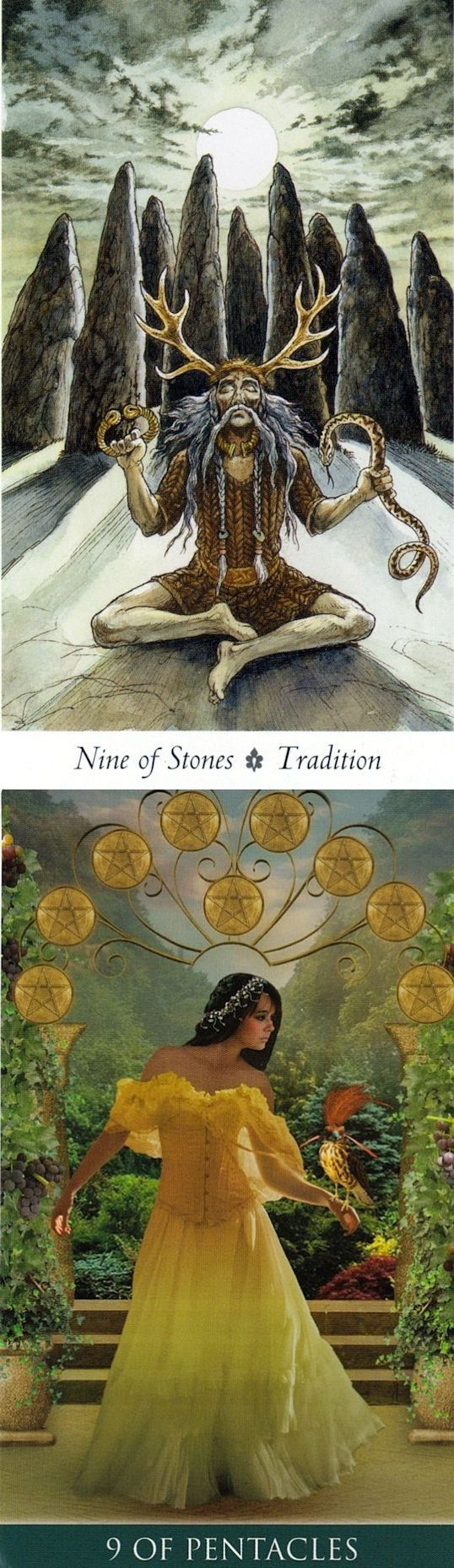 Nine of Pentacles: satisfaction and peace and mistakes that have set you back (reverse). Wild Wood Tarot deck and Thelema Tarot deck: a tarot card reading, tarot reading in hindi vs tarot de marseille. New witch costume and fortune telling.