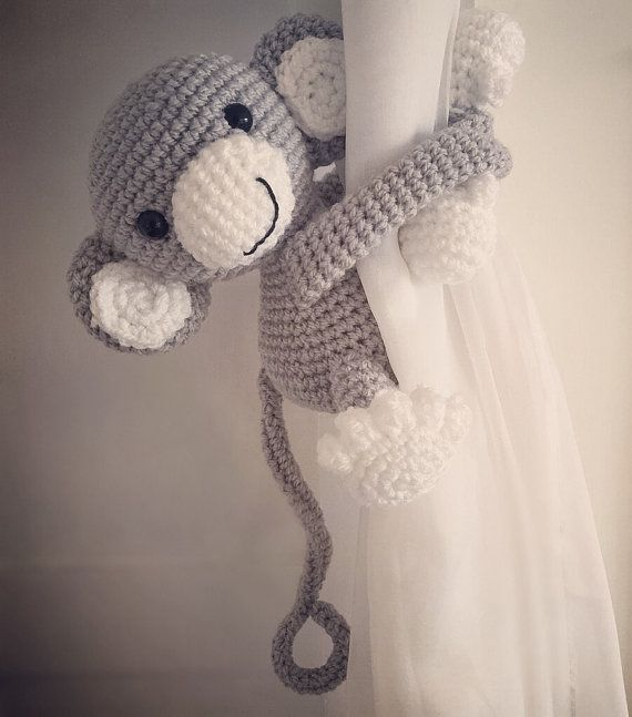 Gray monkey curtain tie back nursery crochet by niceandcosee