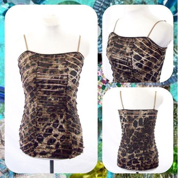 """Charlotte Russe Tiered Animal Print Cami Top Sz M Stretchy animal print cami top in hues of black and brown with pink undertones. Tiered design reminiscent of crocodile skin. Adjustable spaghetti straps. Light and airy!  Size Medium (M) or 6/8. Measures 15.5"""" across the chest and 25"""" in length.    **Bundle with Another Item to Get 15% Off Automatically!** Charlotte Russe Tops Camisoles"""
