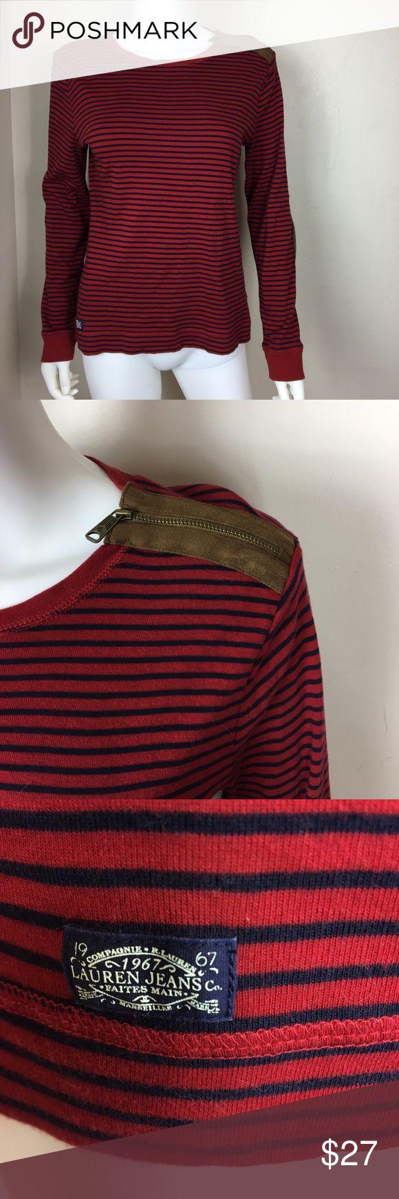 Ralph Lauren Jeans stripe Women Top Ralph Lauren Jeans stripe Women Top Size L color is red navy and brown with shoulder zip and brown elbow patch Ralph Lauren Tops Tees - Long Sleeve