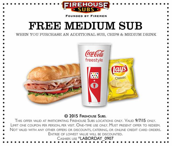 Pinned September 3rd: Second sub free Monday at #FirehouseSubs #coupon via The #Coupons App