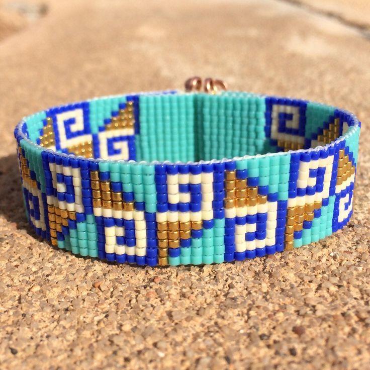 Aztec Gold Bead Loom Bracelet Bohemian Boho Artisanal Jewelry Indian Western Beaded Tribal Southwestern Turquoise Brown Santa Fe by PuebloAndCo on Etsy https://www.etsy.com/listing/236013513/aztec-gold-bead-loom-bracelet-bohemian