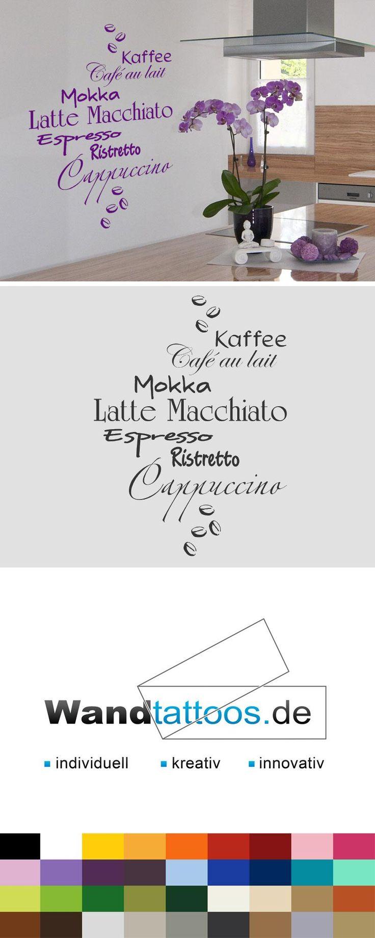 Wandtattoo Kaffeesorten mit Kaffeebohnen als Idee zur individuellen Wandgestaltung. Einfach Lieblingsfarbe und Größe auswählen. Weitere kreative Anregungen von Wandtattoos.de hier entdecken!