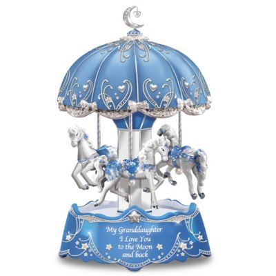 """Limited-edition! Illuminated music box plays """"Beautiful Dreamer"""" as 3 sparkling carousel horses spin. With poem card. Order one for each granddaughter."""