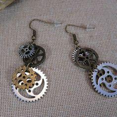 Boucles d'oreille bijoux steampunk engrenage et rouage métal couleur bronze et argenté boucle d'oreille bijoux femme fille