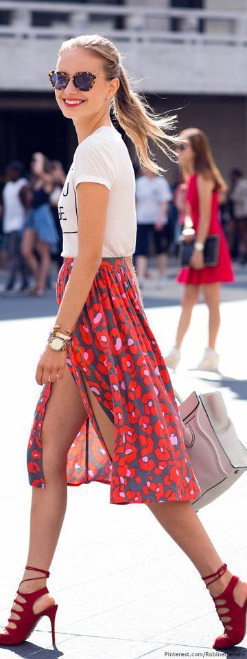 Mix it up:  A causal t-shirt & floral skirt with red stilettos
