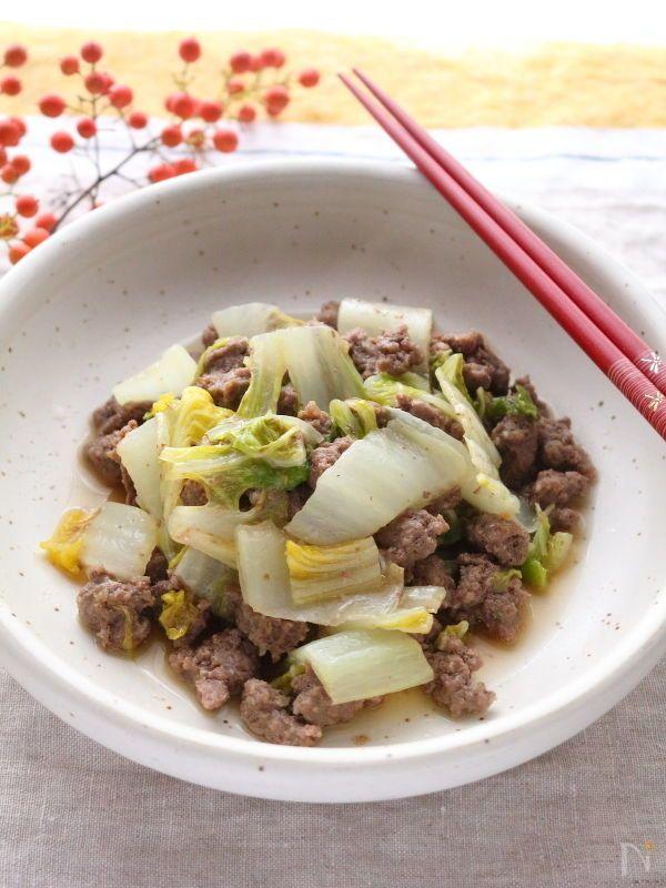 白菜とひき肉を重ねて作るレンジ調理です。  作り置きも出来ます。  お弁当のおかずや、ご飯の上にのっけても良いですね!    乾燥野菜だしを使用していますが、中華スープの素、鶏がらスープの素、コンソメなどでも代用できます。