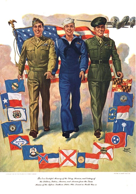 WWII era military poster, 1945 Help Us Salute Our Veterans by supporting their…
