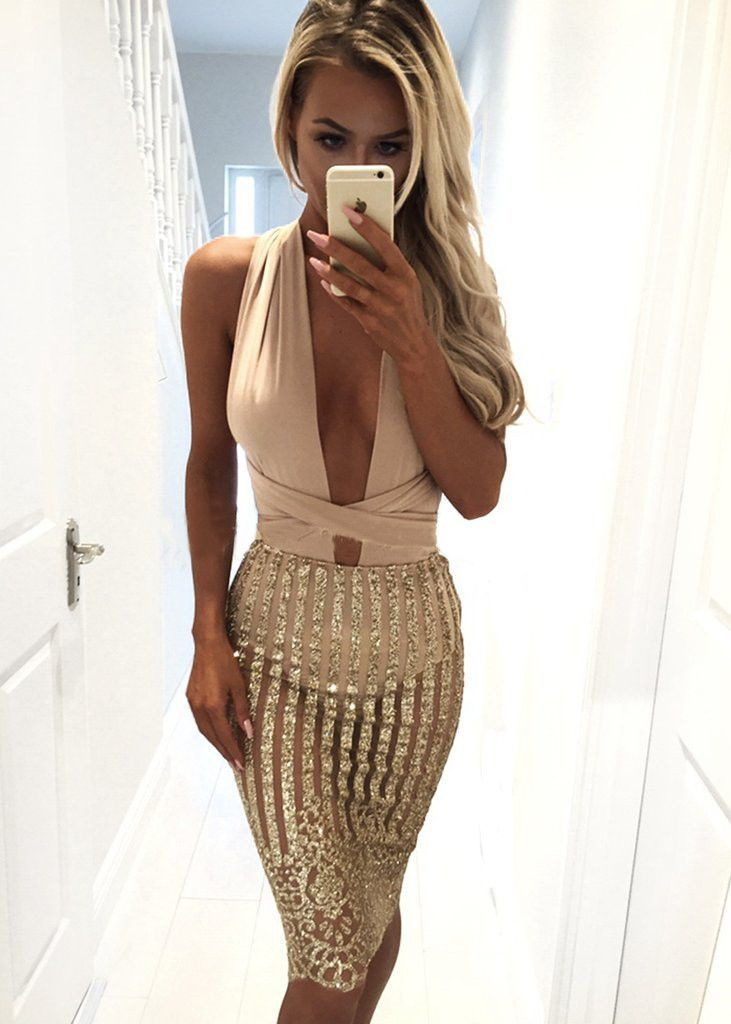 Multiway spaghetti strap Dress Prom Party Evening Mid Dresses Sexy Lady Backless Bodycon Club Dresses Prom Gold Sequin Clothing