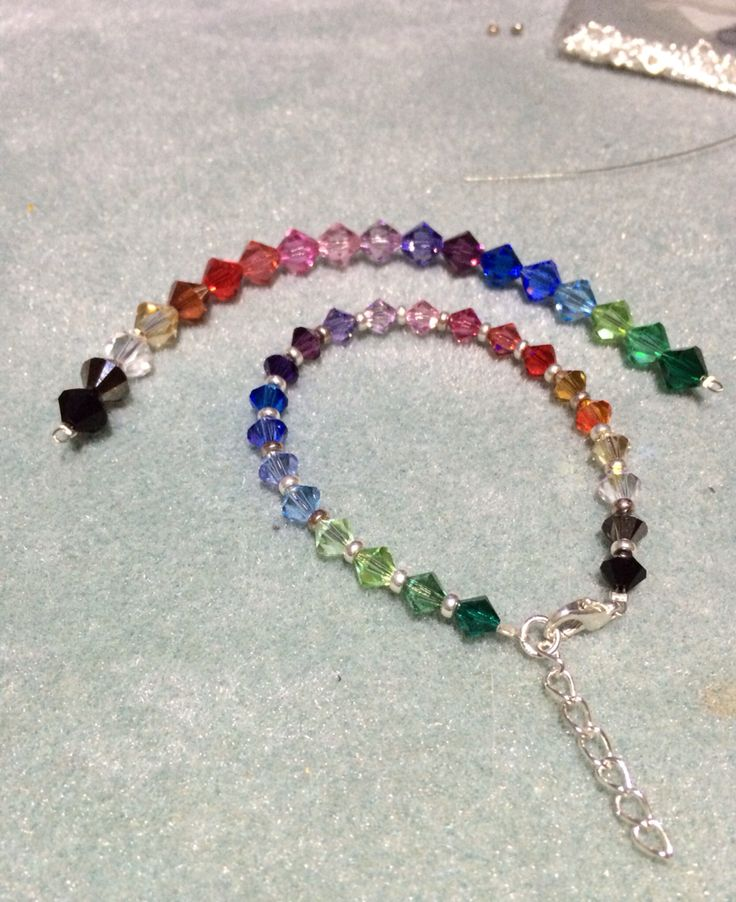 Rainbow Swarovski bracelet and necklace pendant #design #unique #create #make #GGJewellery