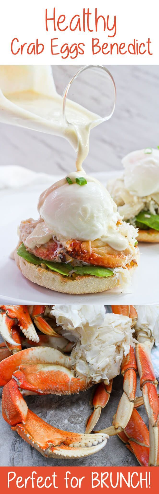 #ad This Healthy Crab Eggs Benedict is made with Dungeness crab legs, poached eggs, and a creamy yogurt sauce, and is a lighter take on the breakfast classic! #crablegs #dungenesscrab #healthybreakfast #seafood #healthyeggsbenedict