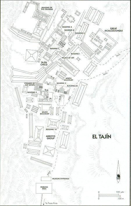 El Tajin Archaeological Ruins Site Map. Northern Veracruz, Mexico Travel & Tour Pictures, Photos, Images, Information, Reviews.