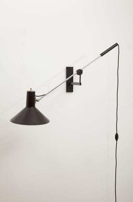 JJM Hoogervorst; Chromed and Enameled Metal Wall Light for Anvia, 1950s.