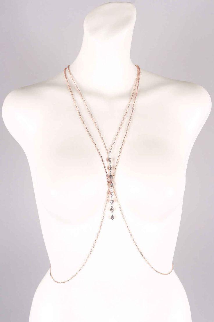 Sternum Drop Rhinestone Caged Body #Chain Price: $11.44  #accessories #womenfashion #jewelry
