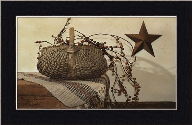 Berry Basket Rusty Star Americana Country Framed Art Print Wall Décor 6x10 | eBay