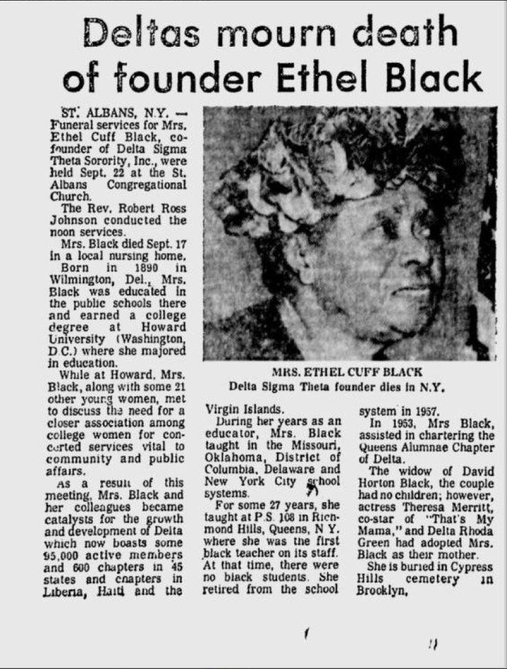 Obituary for Founder Ethel Cuff Black | Delta Sigma Theta ... Rosetta Lenoire English
