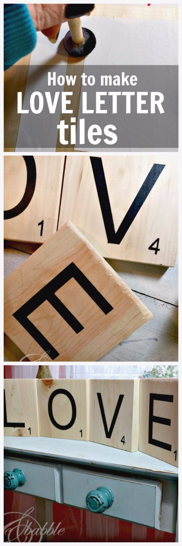 DIY Wall Letters and Initals Wall Art - DIY Love Scrabble Pieces - Cool Architectural Letter Projects for Living Room Decor, Bedroom Ideas. Girl or Boy Nursery. Paint, Glitter, String Art, Easy Cardboard and Rustic Wooden Ideas http://diyprojectsforteens.com/diy-projects-with-letters-wall