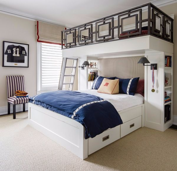 Geometric fretwork on the custom bunk beds makes 12-year old son