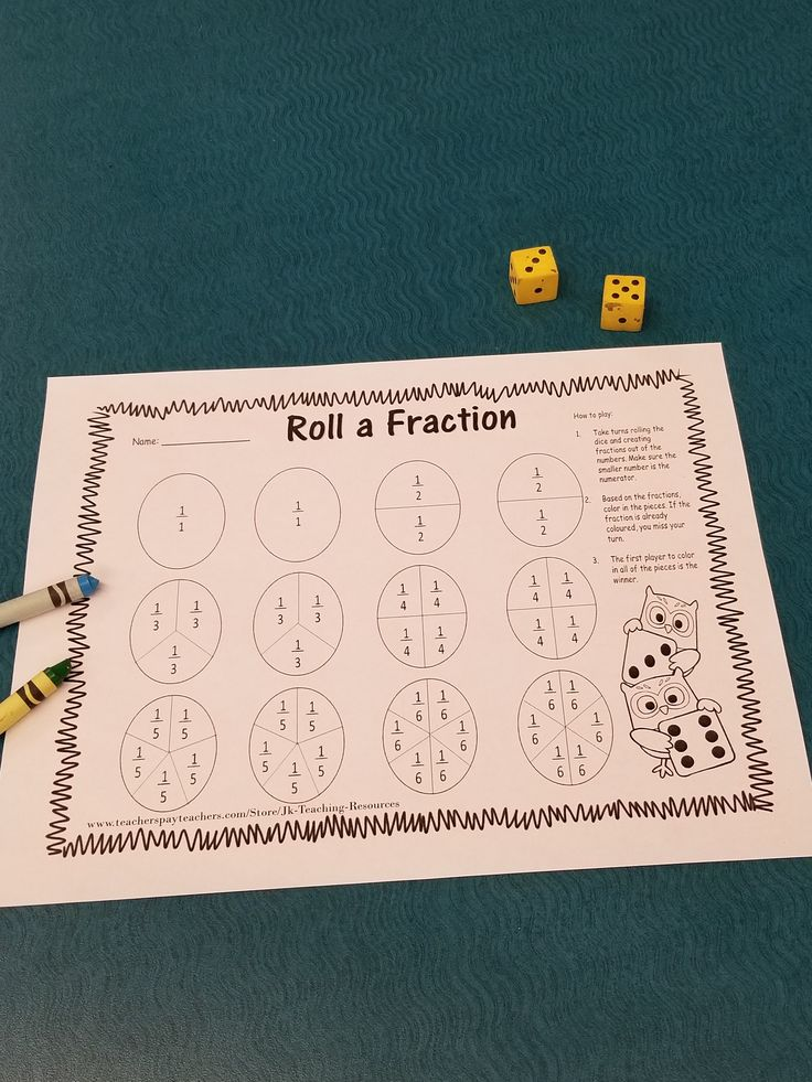 Roll a fraction, math game, centers.