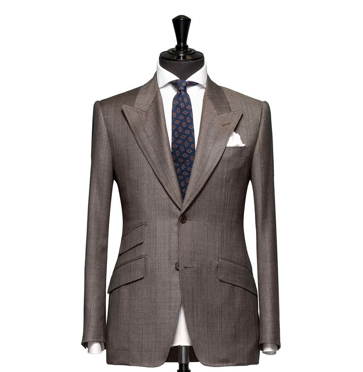 Tailored 2-Piece Suit – Fabric 4363 Sharkskin, Check Brown Cloth weight: 280g Composition: 100% Wool Super 110's