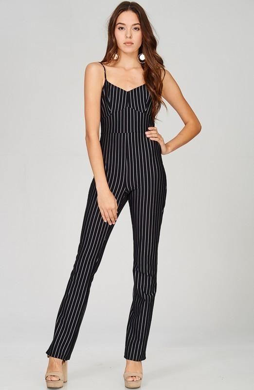 Striped Print Sleeveless Jumpsuit