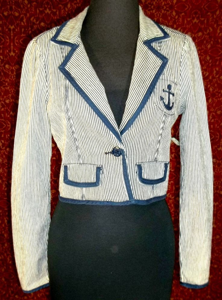 FOREVER 21 PREMIUM DENIM Navy striped cropped sailor Jacket S/P (T30-02D7) #FOREVER21 #JeanJacket #Casual