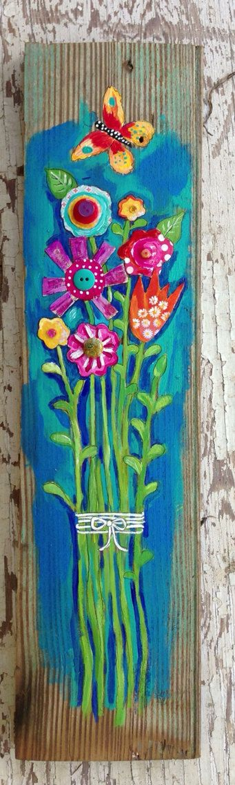 Original painting on a 5x19 inch piece of rustic wood. I used buttons, art papers, and rhinestones to add interest. Sealed and ready to hang.