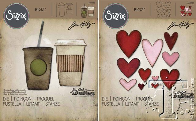 Coffee and hearts by Tim Holtz and Sizzix