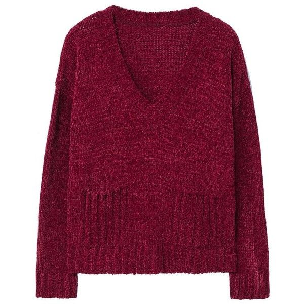 Chenille Sweater (119.700 COP) ❤ liked on Polyvore featuring tops, sweaters, jumper, sweaters and sweatshirts, long sleeve sweater, purple top, long sleeve v neck sweater, cable sweaters and v neck cable sweater