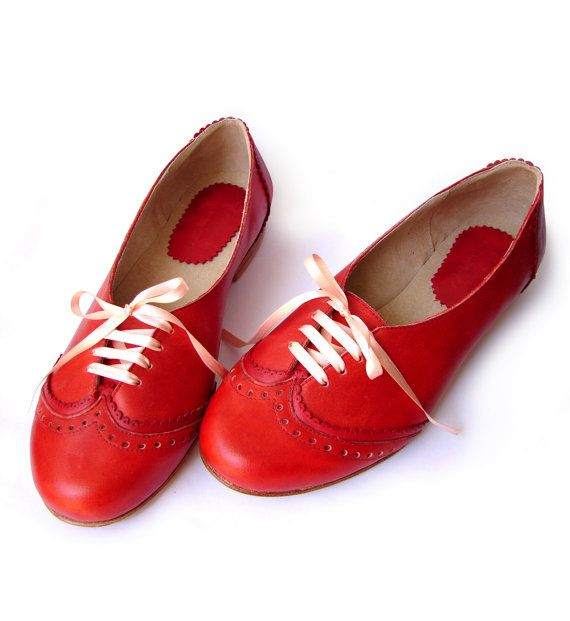 Leather ballet flats red by QuieroJune on Etsy, $165.00