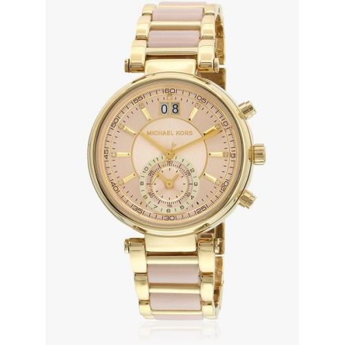Michael Kors Sawyer Mk6360i Two Tone/Rose Gold Chronograph Watch Now buy Watch for Women #Looksgud #RoseGold #ChronographWatch