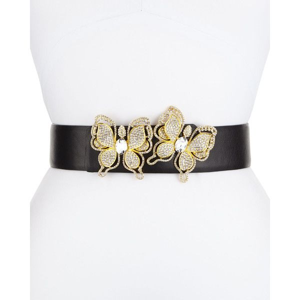 Deborah Drattell Butterflies Leather Belt (5.520 ARS) ❤ liked on Polyvore featuring accessories, belts, gold, butterfly belt, stretchy belts and stretch belt