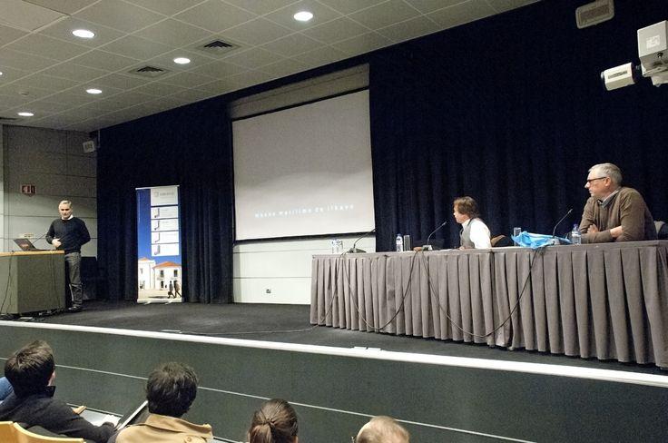 Da esquerda para a direita: Doutor Arqt. Nuno Mateus, Prof. Doutor Arqt. Alexandre Carlos de Sá Guerra Marques Pereira e Mestre Arqt. Nuno da Silva Araújo Simões. (Fotografia de Jorge Carvalho, 2015)