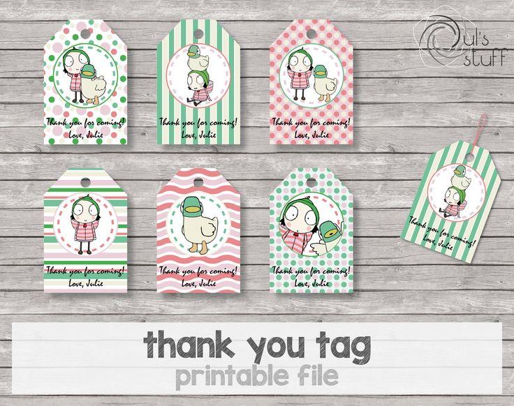 Tarjetas de agradecimiento de Sarah y Pato imprimibles y editables de DulsStuff en Etsy