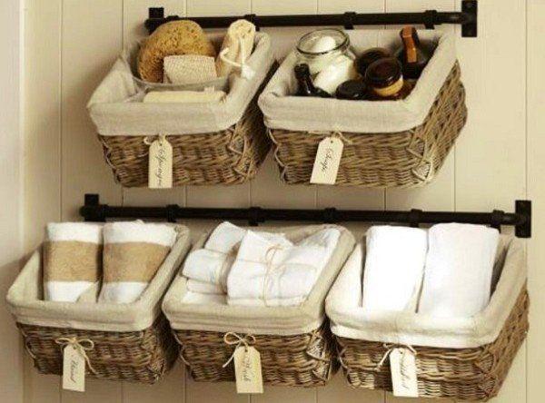 10 Small Bathroom Ideas That Will Change Your Life In 2020 Diy Bathroom Storage Towel Storage Baskets On Wall