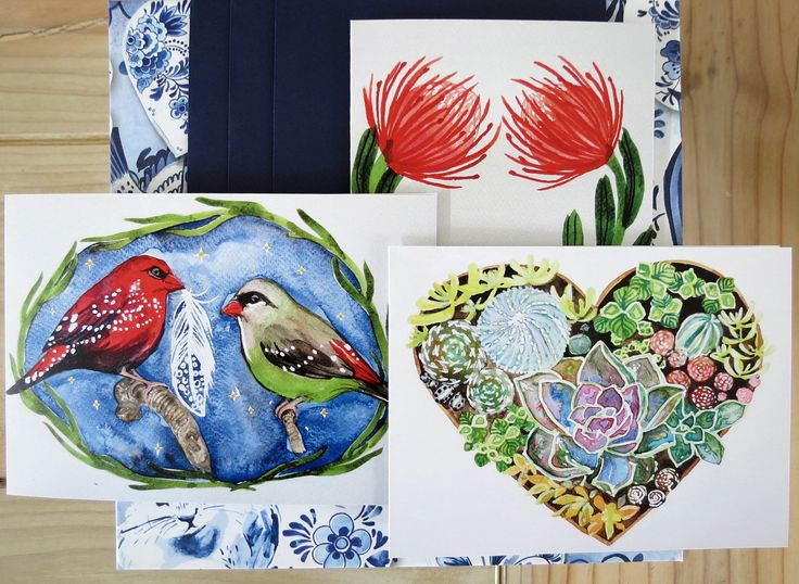 Greeting cards, holiday cards, cactus print, blank cards, birthday cards, finch print, bird card, cactus heart, pincushion print by SavannaLife on Etsy