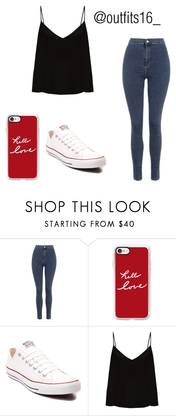 """""""Untitled #335"""" by merywalls02 ❤ liked on Polyvore featuring Topshop, Casetify, Converse and Raey"""