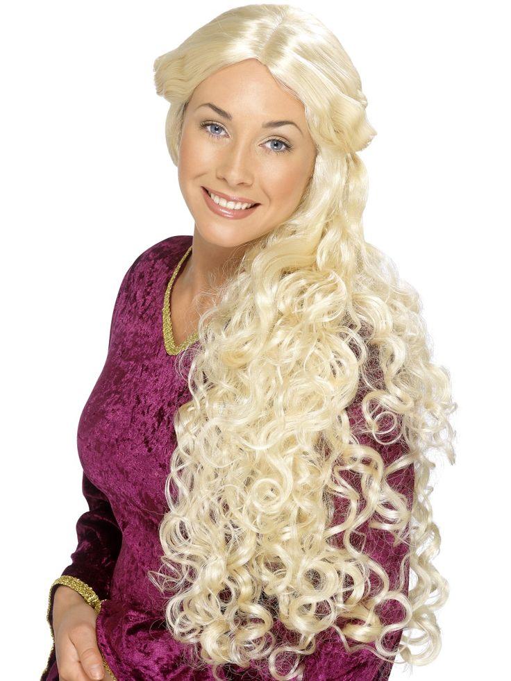 Renesanssi-peruukki. Upea vaalea kiharainen pitkä peruukki.