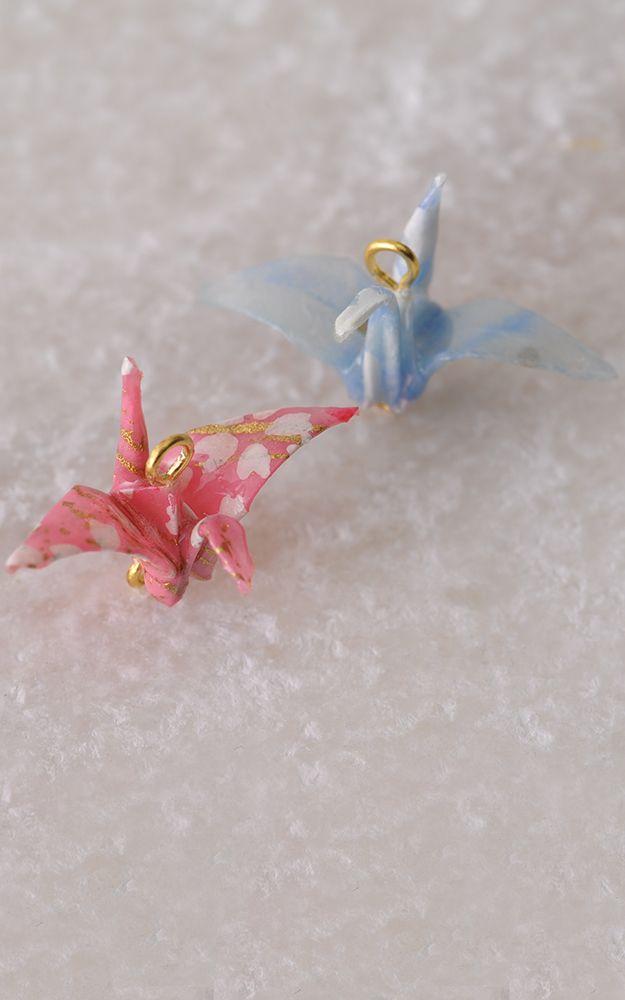 [Yuzen Washi] Japanese paper cranes Parts 【友禅和紙】折鶴パーツ
