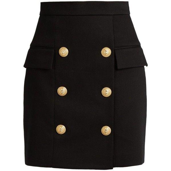 Balmain Six-button piqué mini skirt (12.914.685 IDR) ❤ liked on Polyvore featuring skirts, mini skirts, bottoms, saias, black, balmain skirt, high-waist skirt, high-waisted skirts, high waisted bodycon skirt and high rise skirts