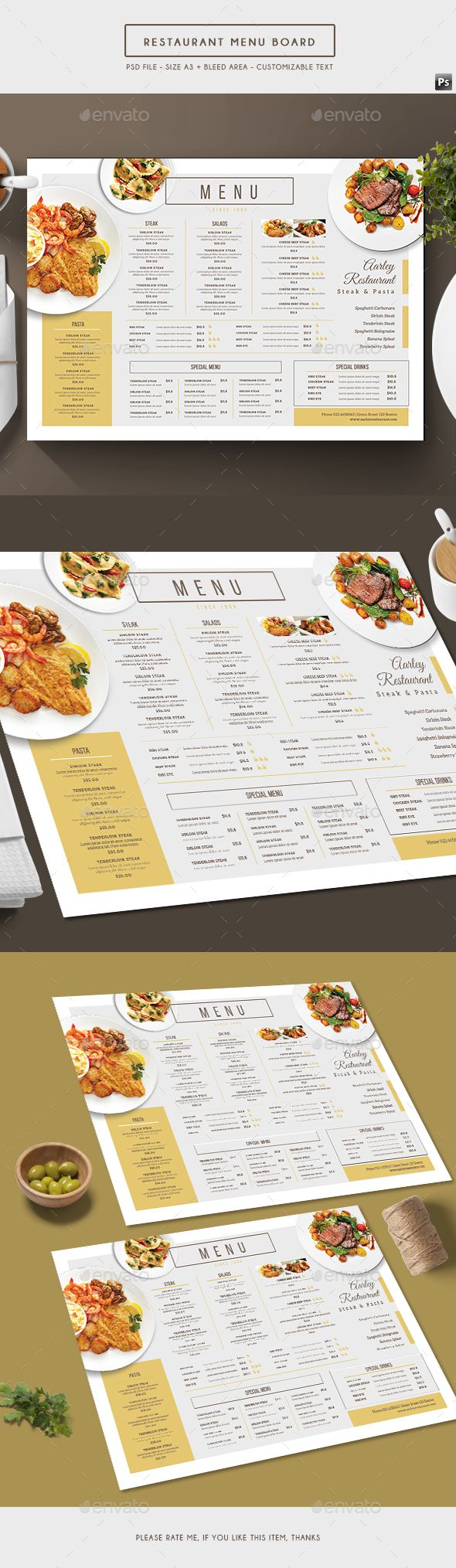 Simple Restaurant Menu Board - Food Menus Print Templates Download here : https://graphicriver.net/item/simple-restaurant-menu-board/19626546?s_rank=17&ref=Al-fatih