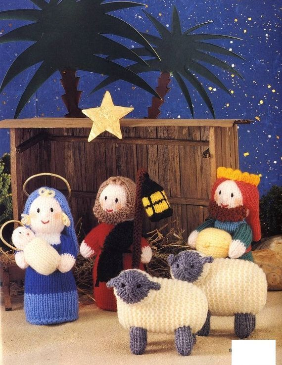 Digital pdf knitting pattern for a beautiful Nativity scene, dolls- sheep. Knit flat and seamed, pattern states figures will be 6 tall and sheep 4 tall after knitting using DK yarn and size 3mm( US 2-1/2 or 3 ) knitting needles. USA equivalent for the DK yarn: sport/Light worsted tension 25 sts and 36 rows=4  This pattern is an INSTANT DOWNLOAD pdf pattern. You will receive an email immediately following your confirmed payment, which will include your download link and information.  You…
